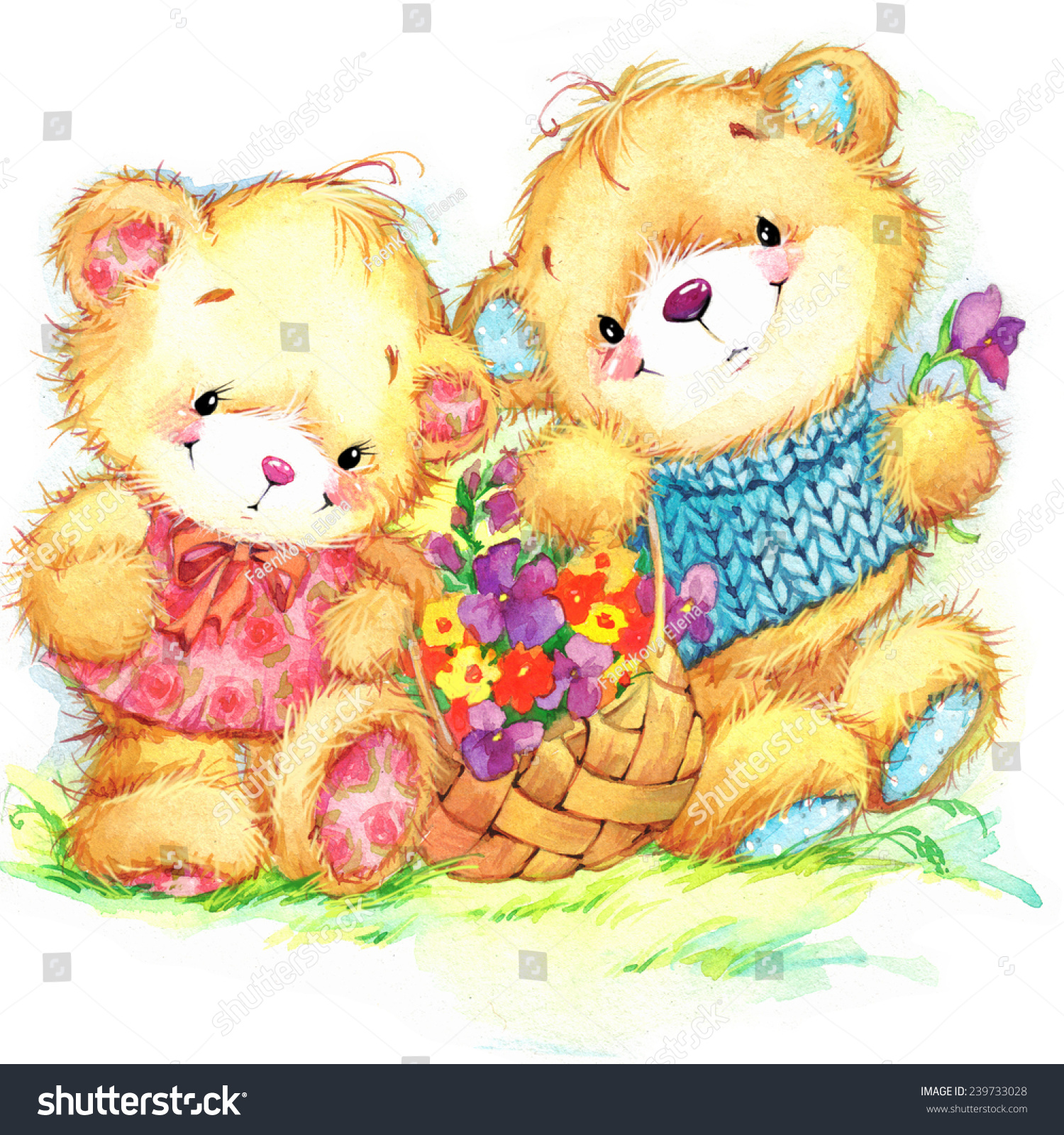 cute teddy bear kid birthday background stock illustration