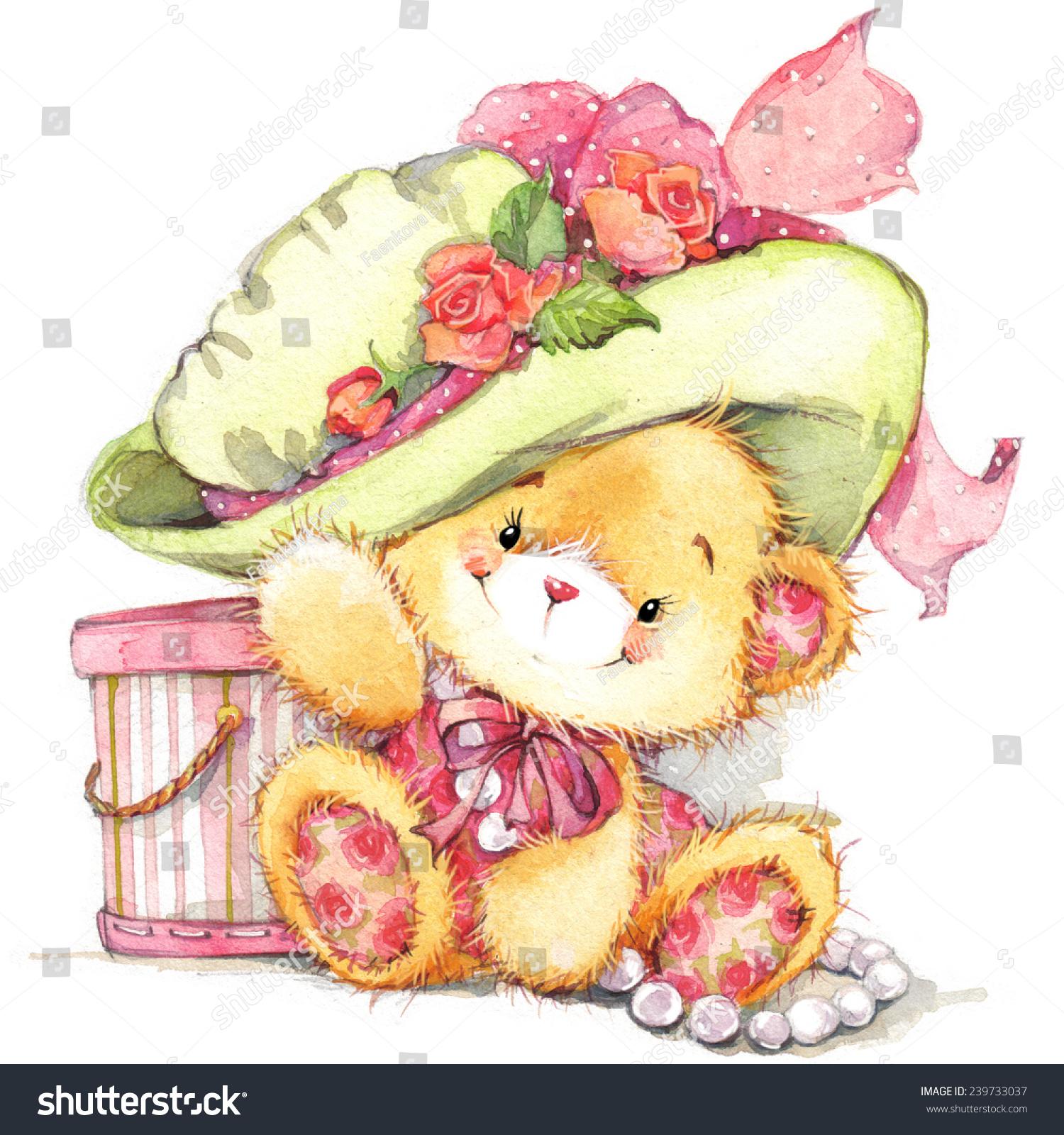 Cute Teddy Bear Kid Birthday Background Stock Illustration 239733037