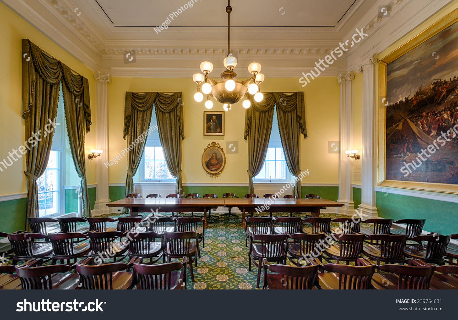 senate dining room. RICHMOND  VIRGINIA DECEMBER 15 Old Senate chamber in the Virginia State Capitol on Richmond December Stock Photo 239754631