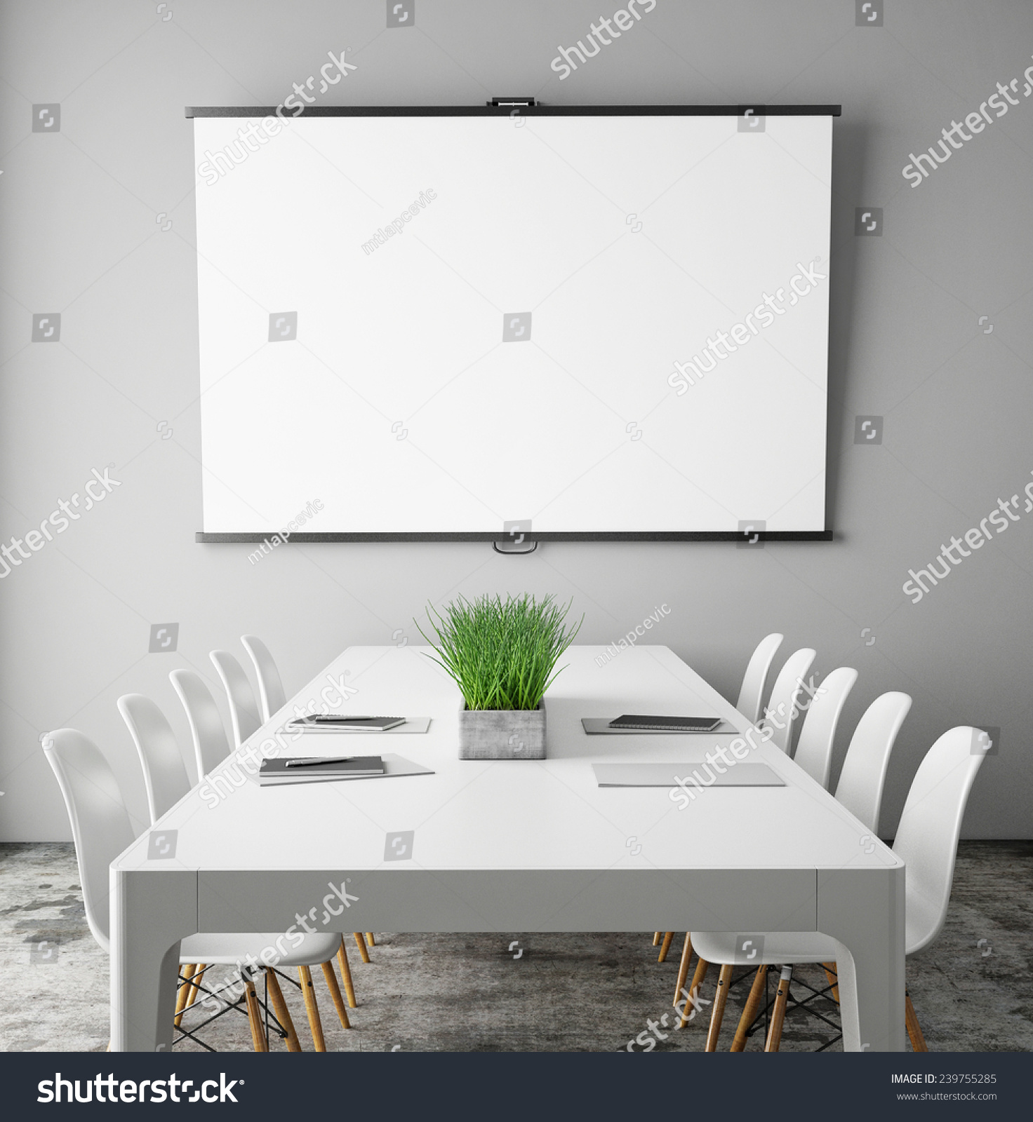 Mock Projection Screen Meeting Room Conference Stock Illustration ...