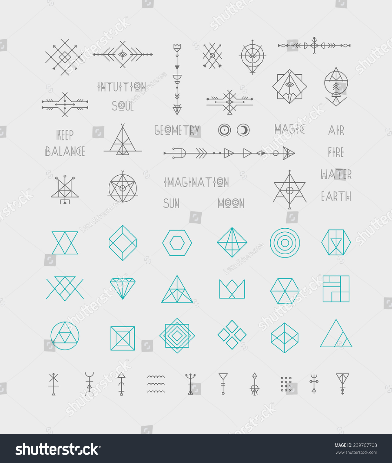 Set of vector trendy geometric icons Alchemy symbols collection Religion philosophy spirituality occultism