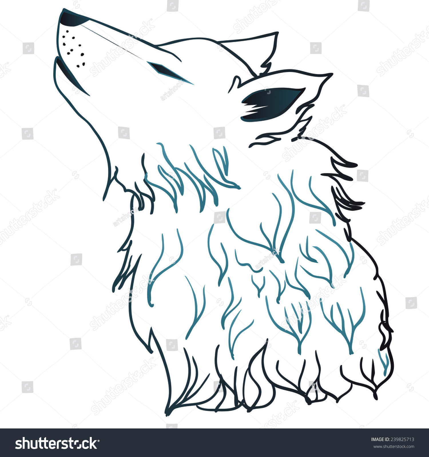 Save To A Lightbox Clipart Of A Sketched Drawing Styled Grey Wolf Head
