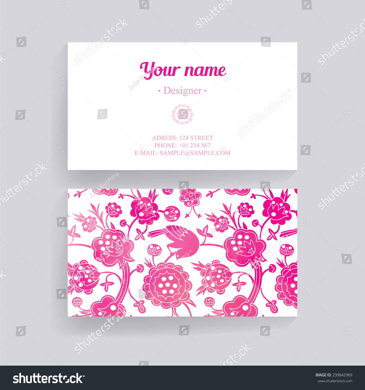 Pink Flower Ornament Greeting Card Business Stock Vector Royalty