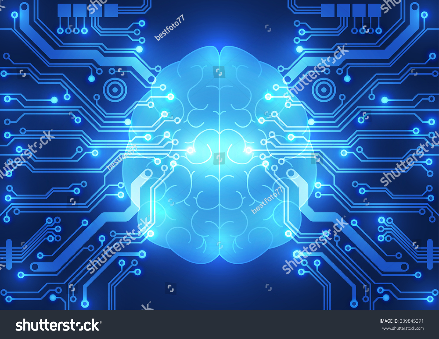 Abstract Electric Circuit Digital Braintechnology Concept Stock ...