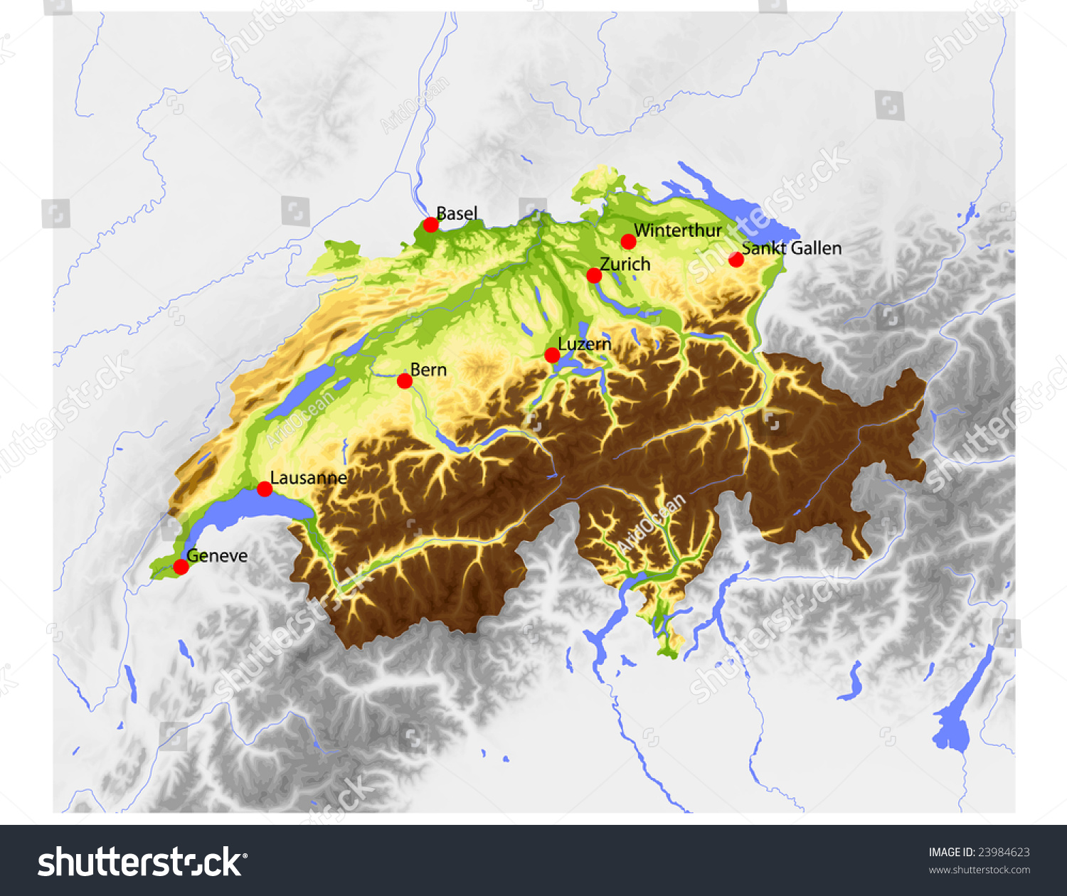 Switzerland Elevation Map.Switzerland Physical Vector Map Colored According Stock Vector