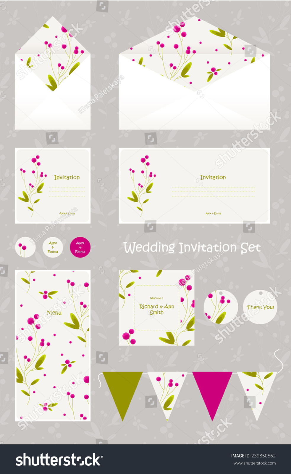 Wedding Invitation Thank You Card Save Stock Vector 239850562 ...