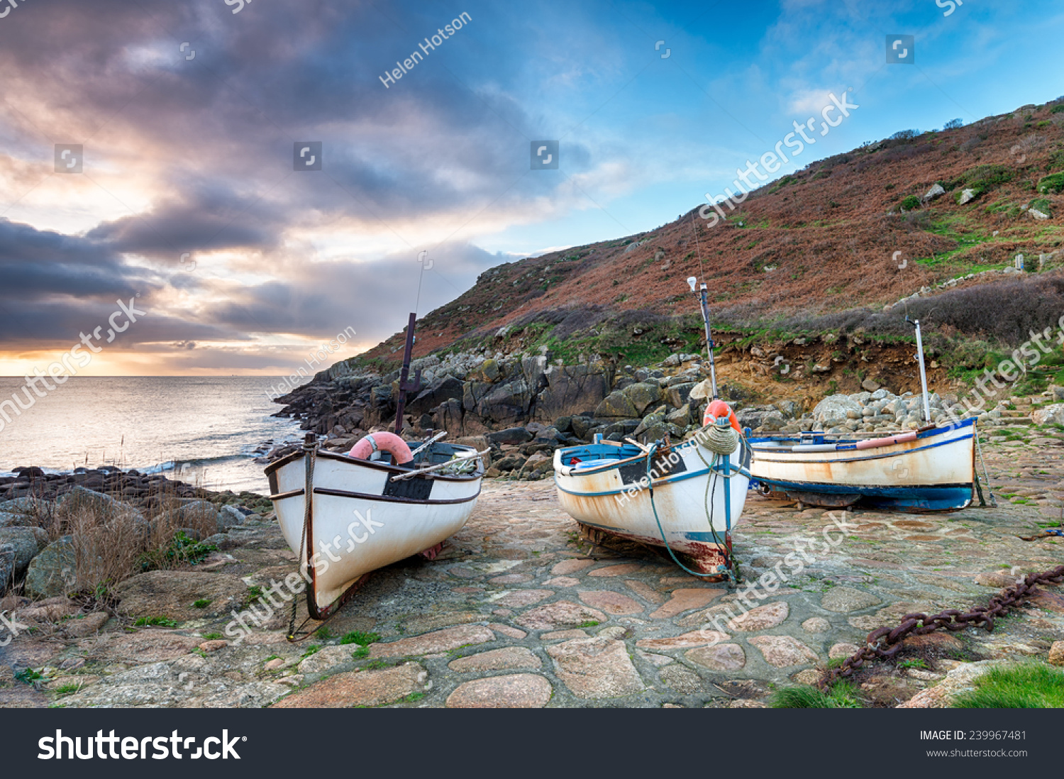 Fishing boats on beach penberth cove stock photo 239967481 for Where to get a fishing license near me