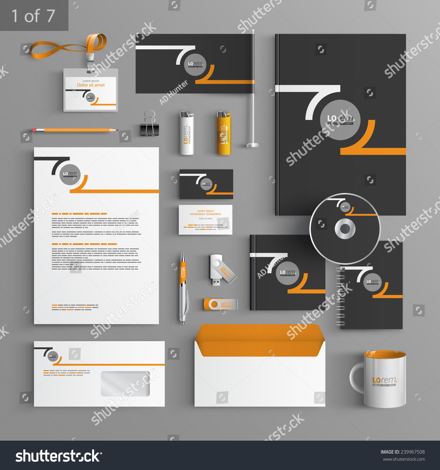 Black Stationery Template Design Orange Round Stock Vector 239967508 ...
