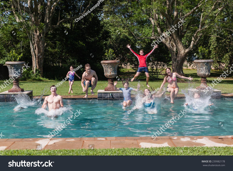 Royalty Free Boys Girls Jump Swim Pool Teen Boys 239982178 Stock Photo