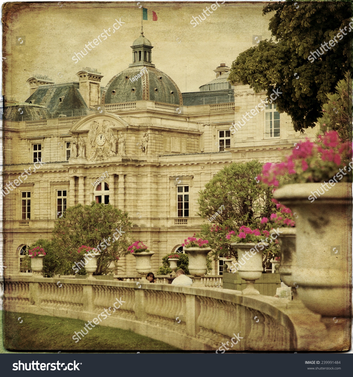 Beautiful View Luxembourg Gardens Paris Vintage Stock Photo Edit