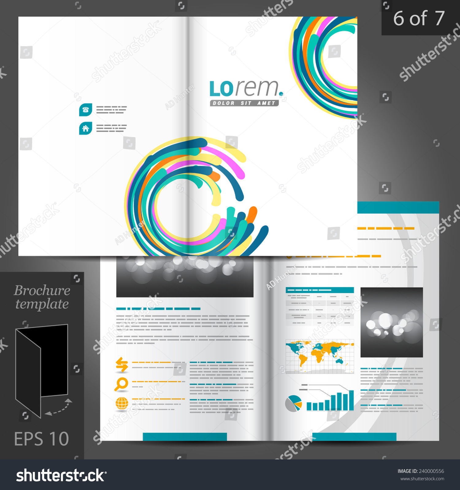 Colorful Vector Creative Brochure Template Design Stock Vector