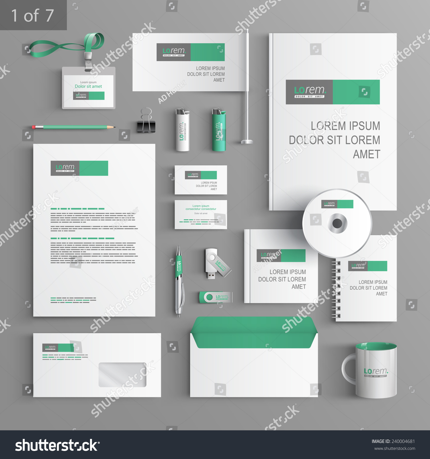 White Stationery Template Design Green Gray Stock Vector 240004681 ...