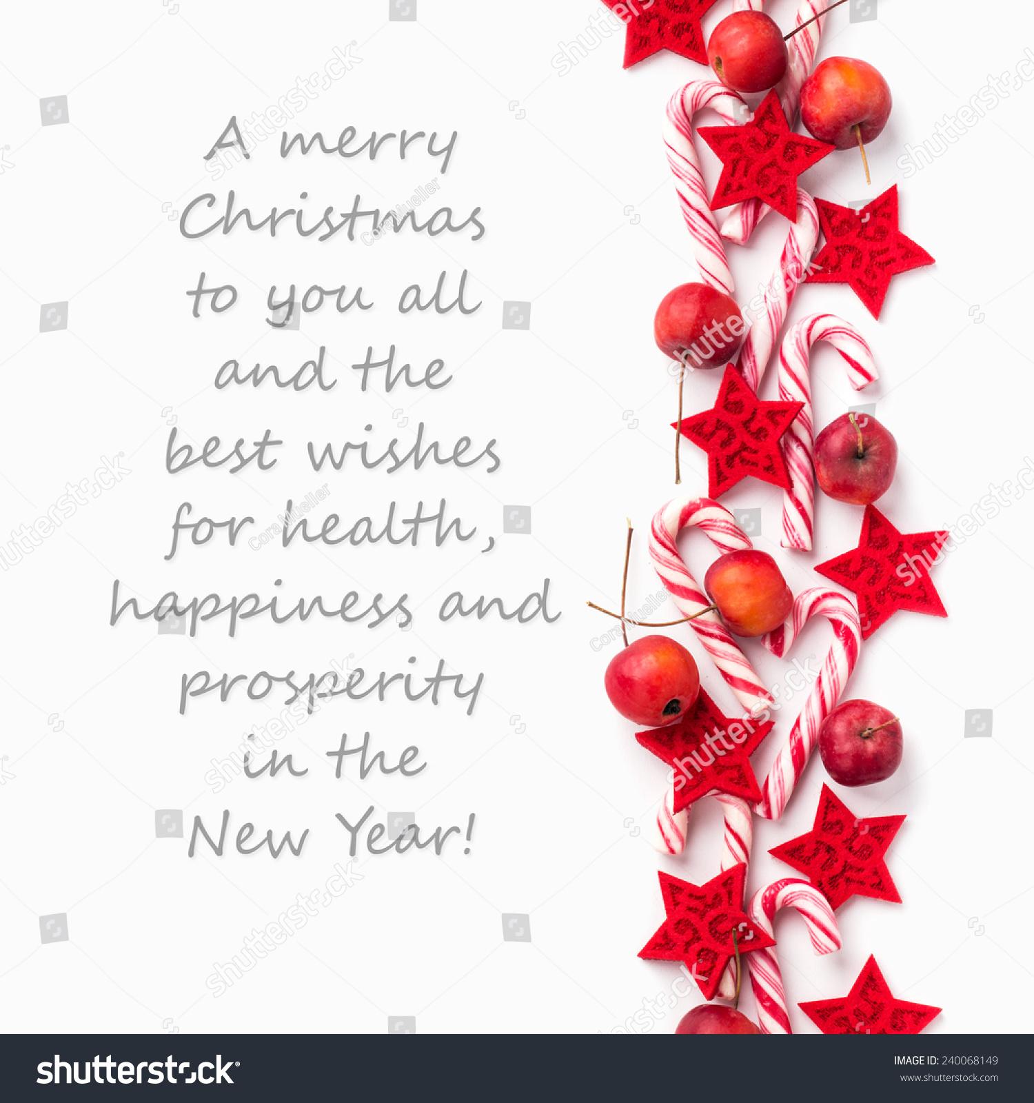 English Christmas Card Candy Canes Applesa Stock Photo ...