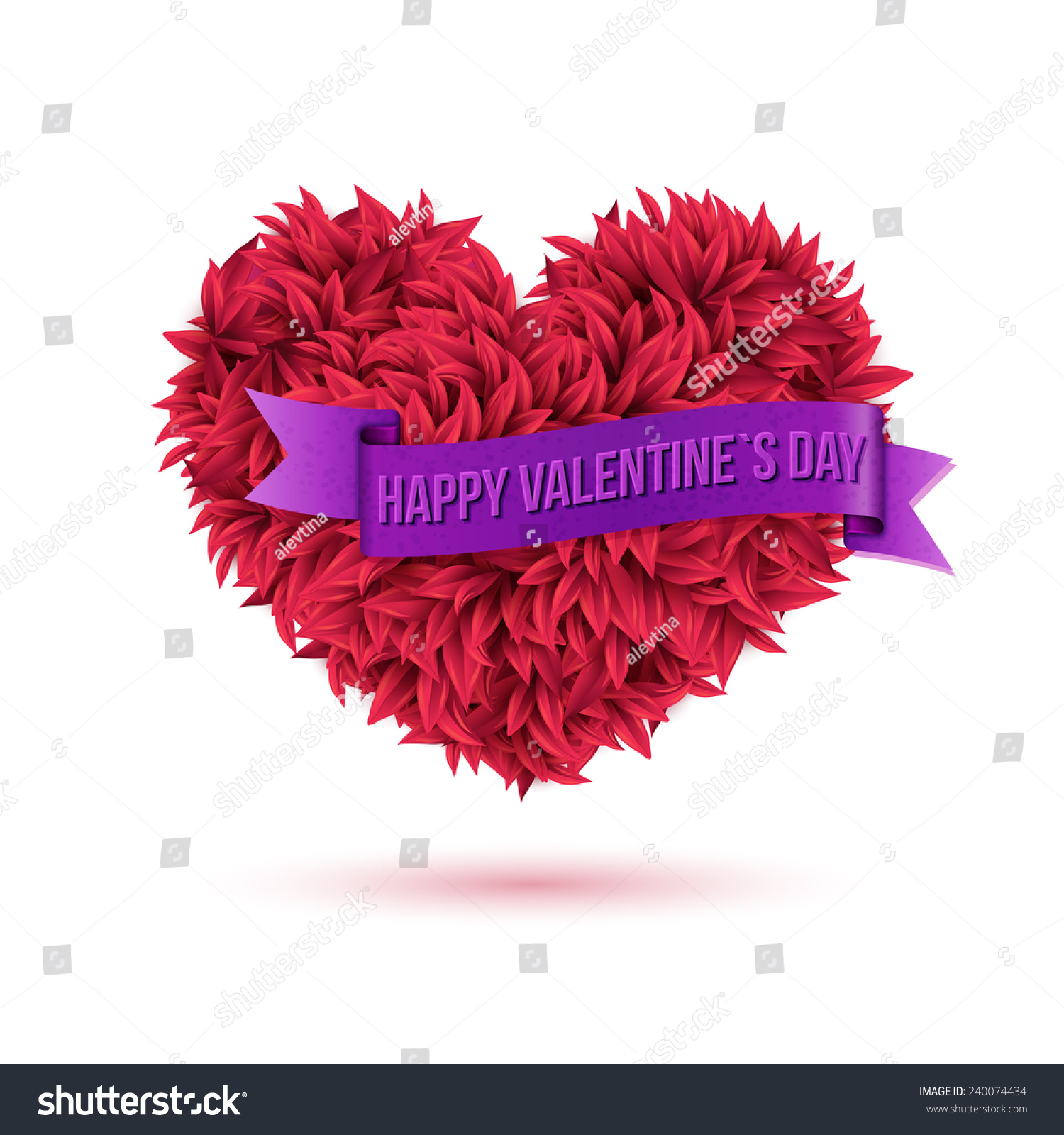 simple valentines concept happy valentines day texts on violet ribbon attached on red leafy heart - Valentines Day Texts