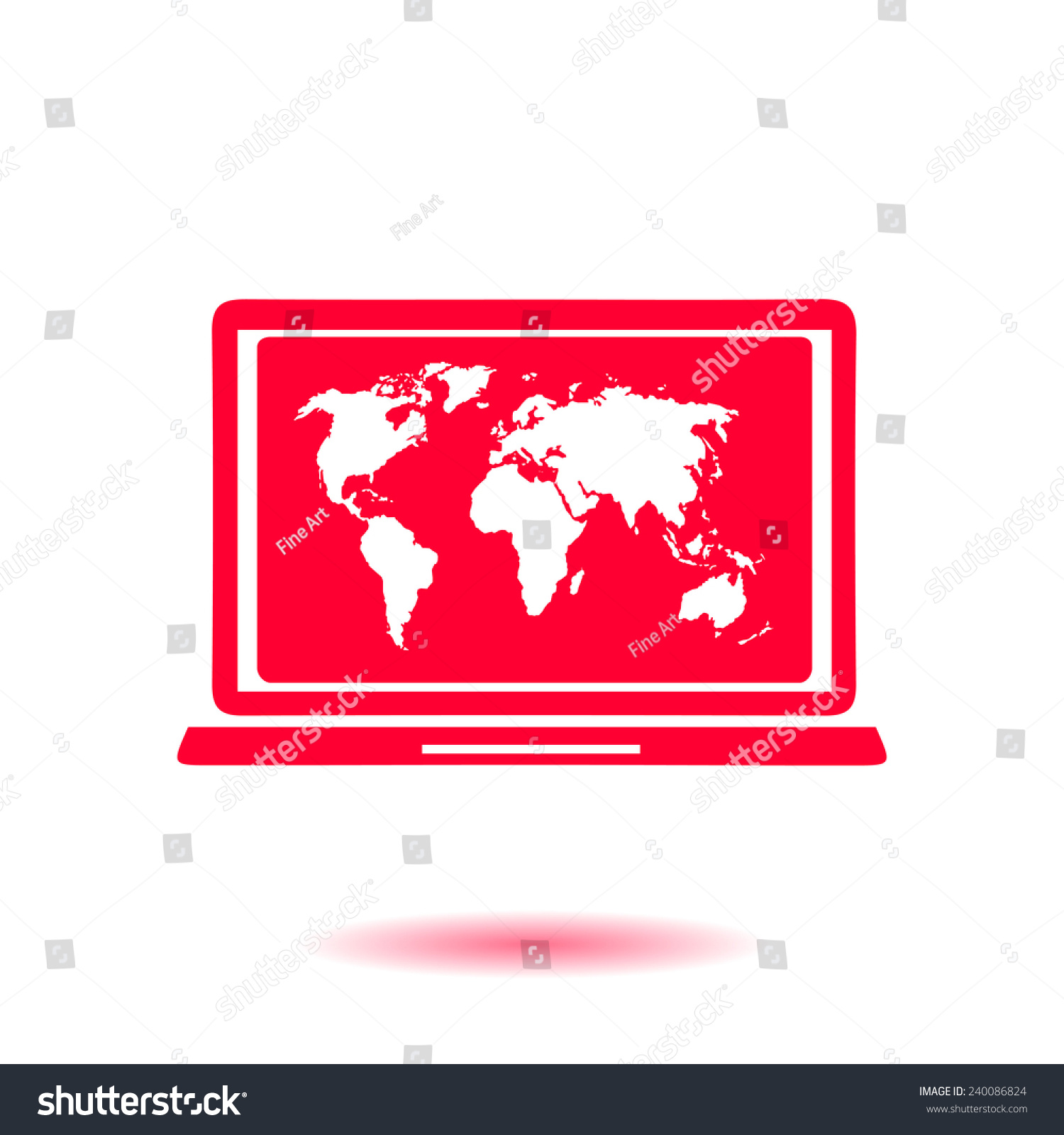 Laptop world map illustration world map stock vector 240086824 laptop and world map illustration world map geography symbol flat design style vector gumiabroncs Images