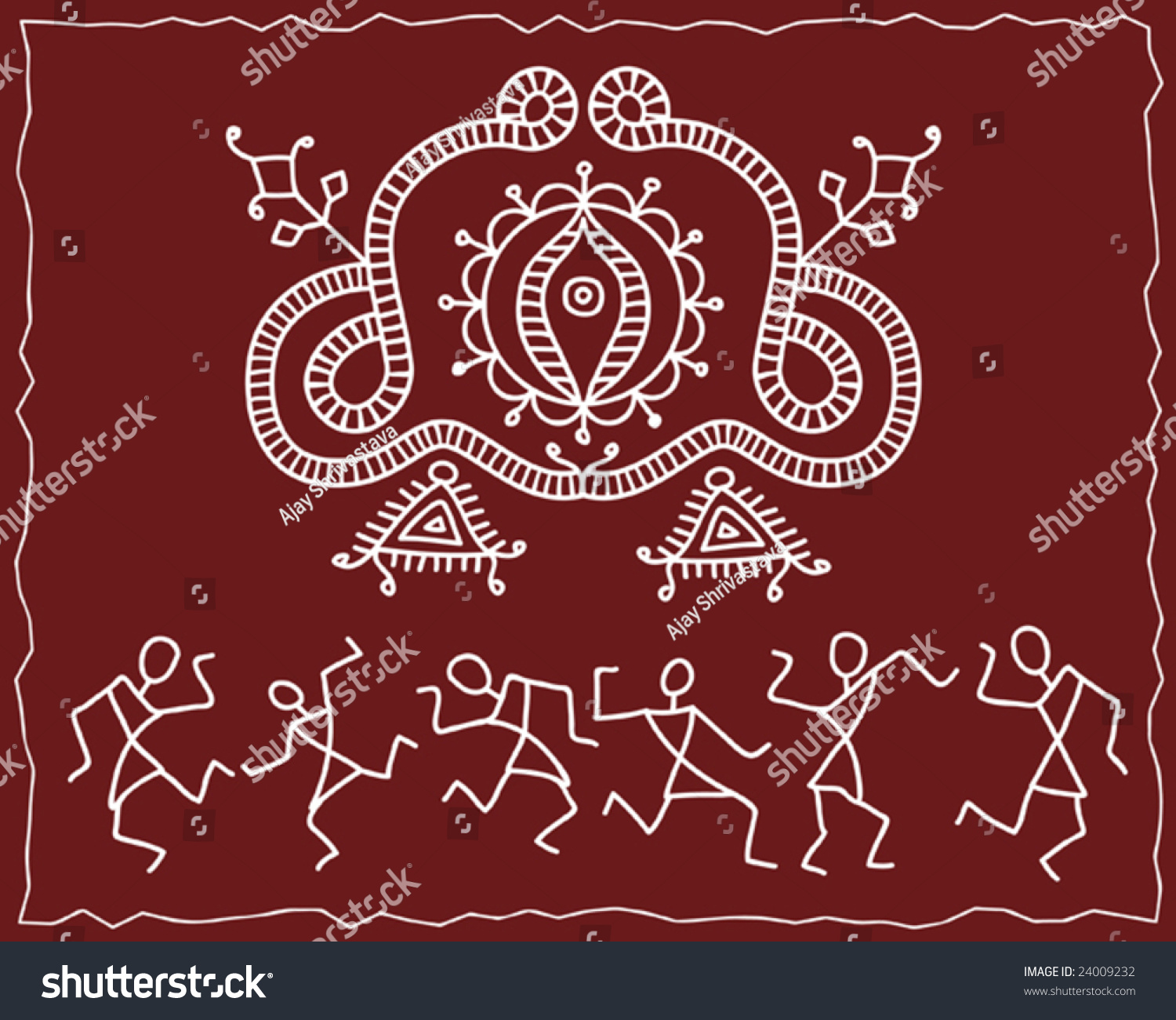 folk tribal designs motif wall painting stock vector illustration 24009232 shutterstock. Black Bedroom Furniture Sets. Home Design Ideas