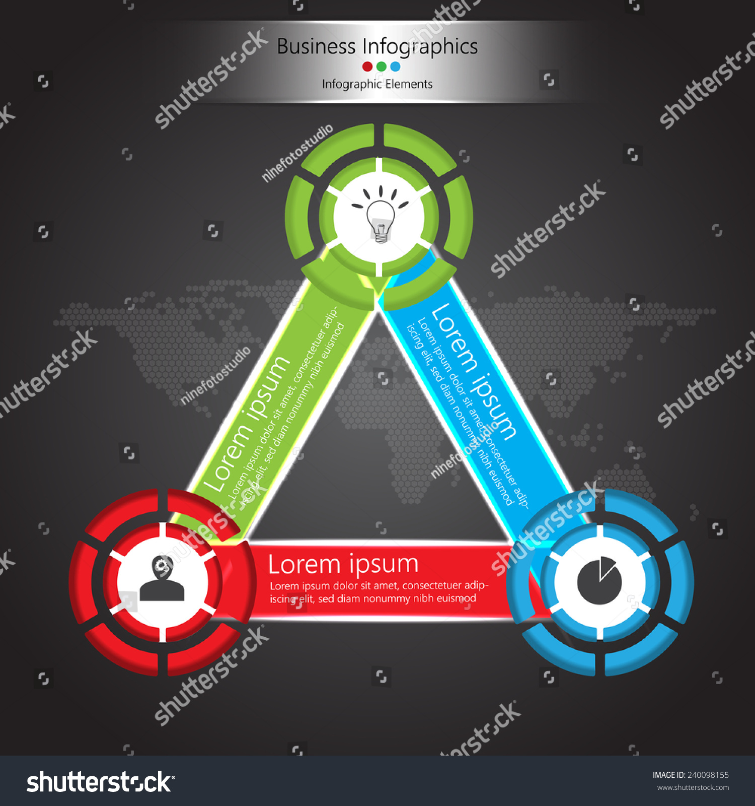 Color triangle wheel shapes design business stock vector 240098155 color triangle and wheel shapes design with business icon and text information label design abstract gumiabroncs Gallery