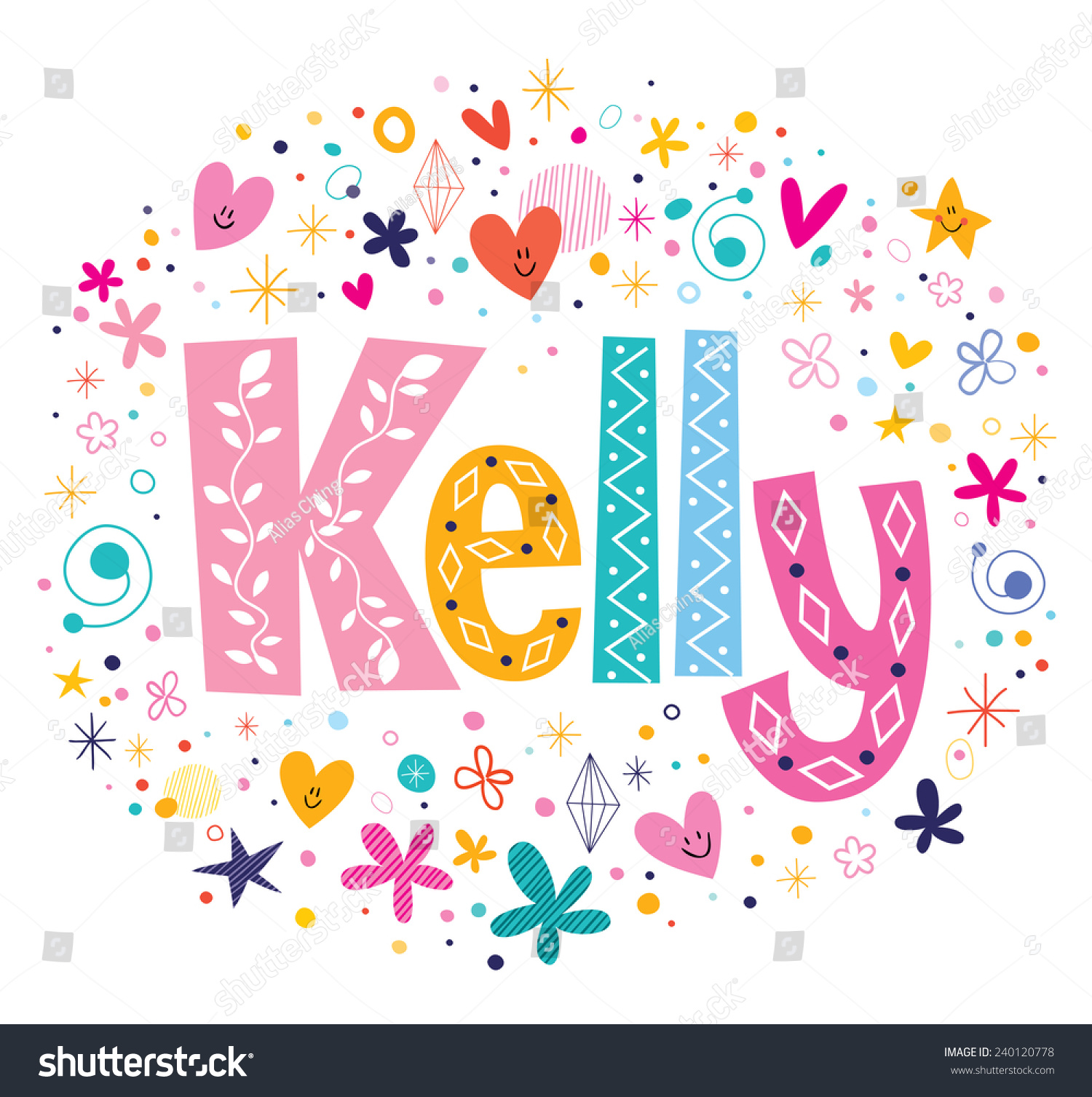 Kelly Female Name Decorative Lettering Type Stock Vector ...