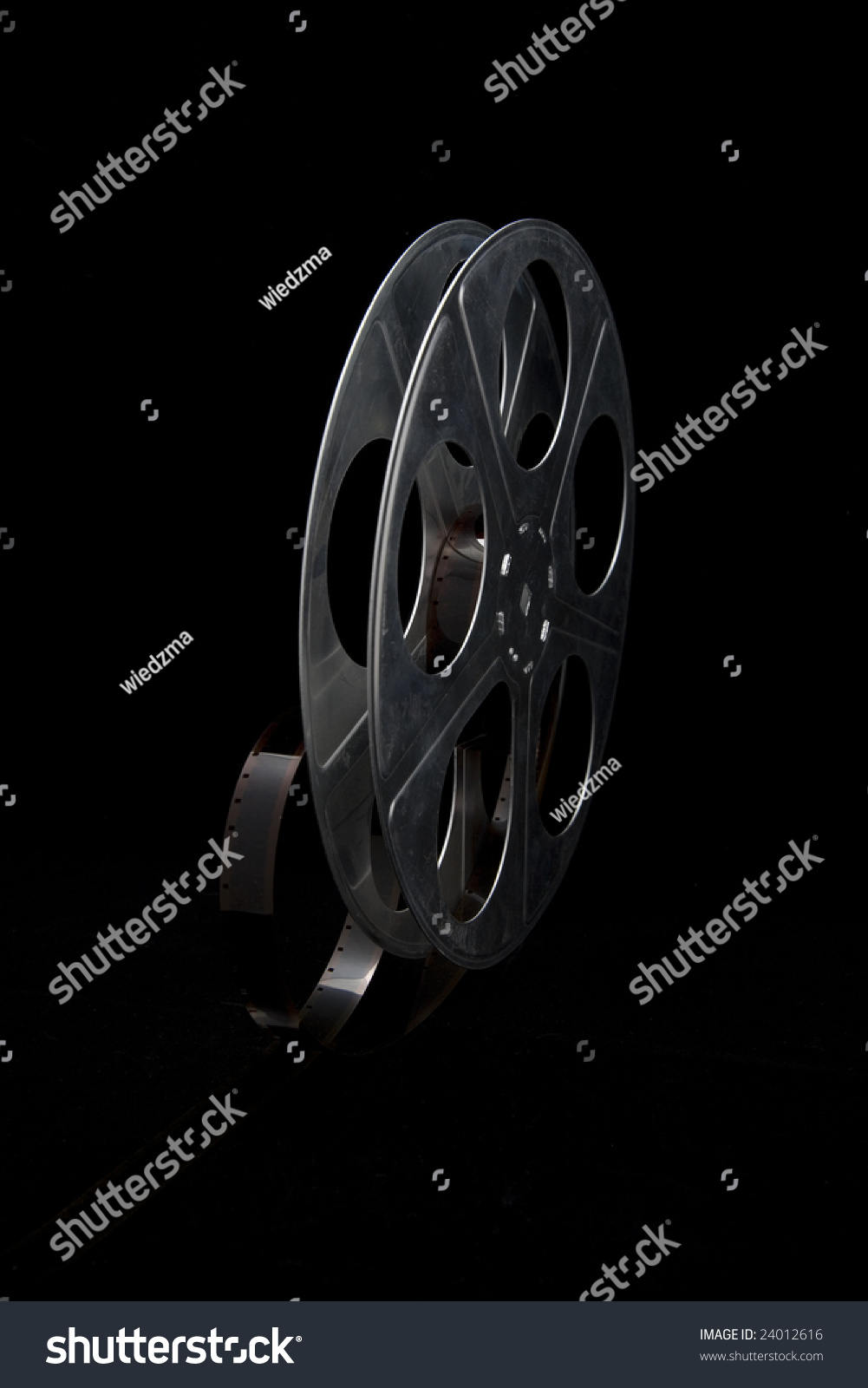 Film Reel On Black Background Stock Photo 24012616 ...