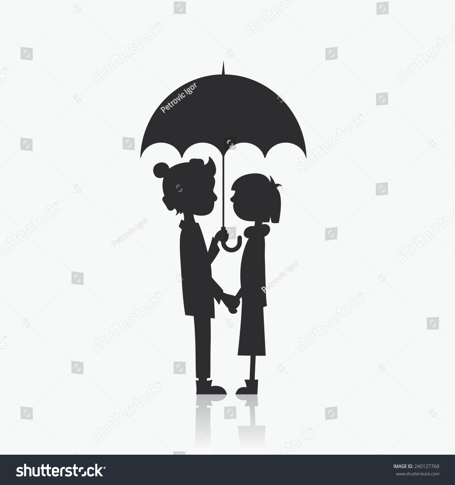 Couple Cartoon Characters Love Under Umbrella Stock Vector Royalty