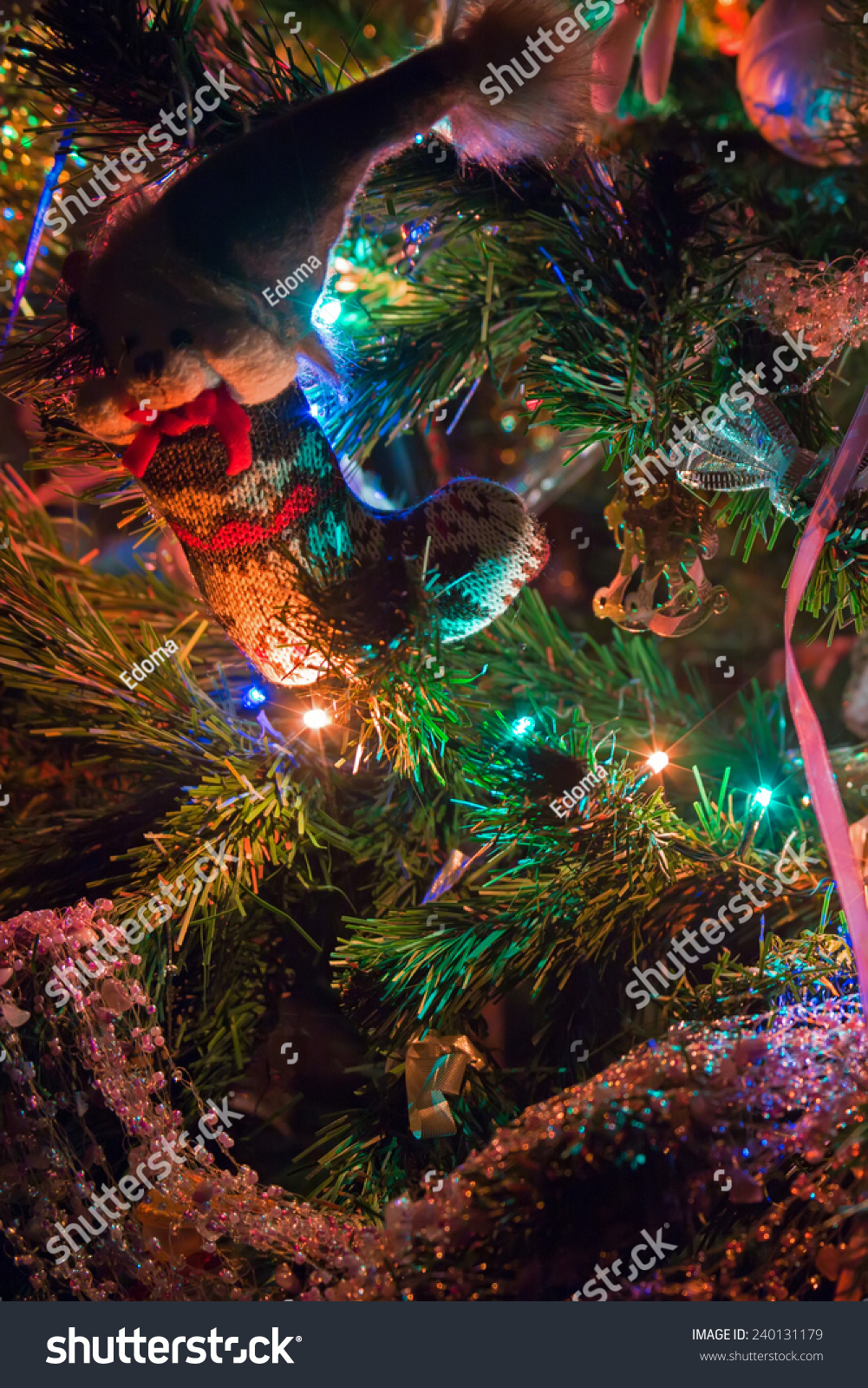 Decorations Multi Colored Lights On Christmas Stock Photo Edit Now 240131179