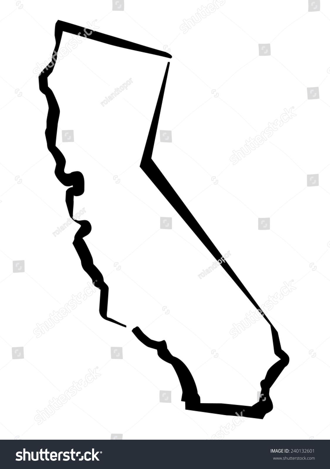 Drawing Map California Stock Vector Royalty Free 240132601