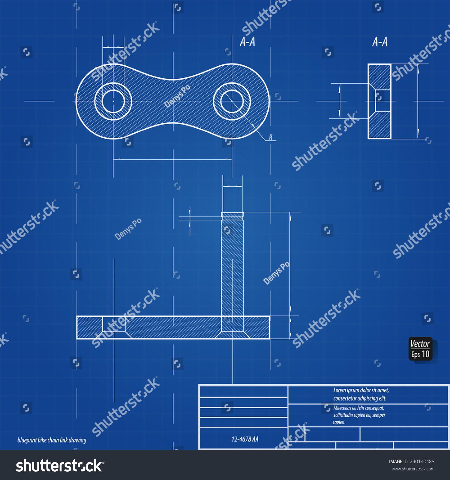 Blueprint Bike Chain Link Drawing Eps 10 Stock Vector