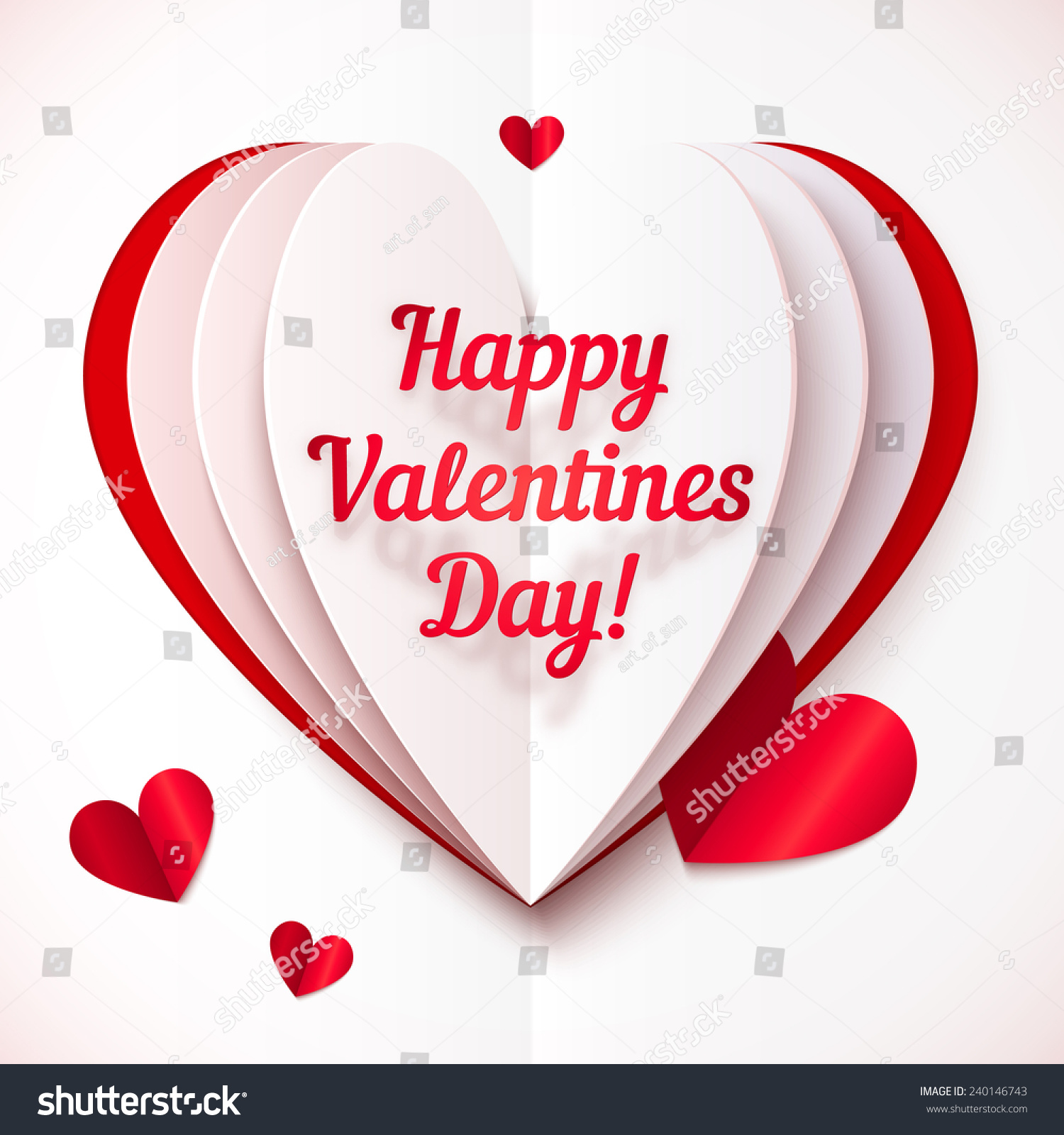 valentines day presents paper folded vector with happy valentines day text 31036