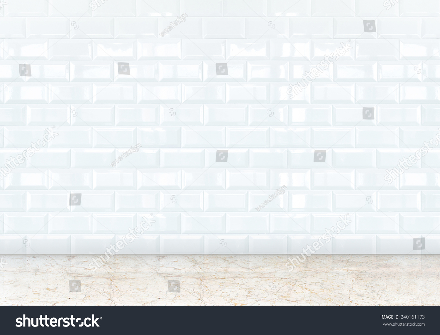 Empty Perspective Room With White Ceramic Tiles Wall And Marble Floor Templat