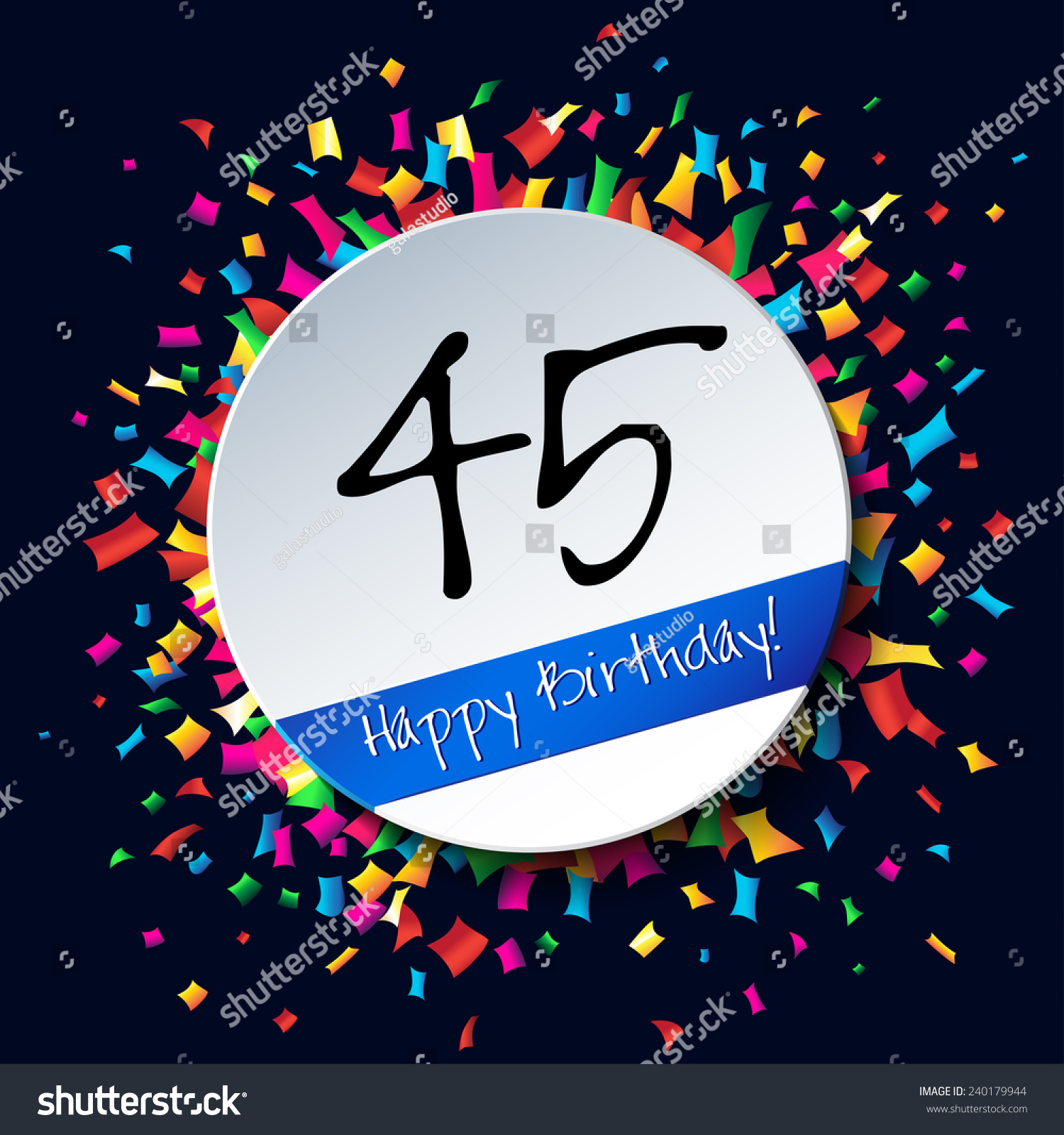 45 happy birthday background card colorful stock illustration 45 happy birthday background or card with colorful confetti buycottarizona Gallery