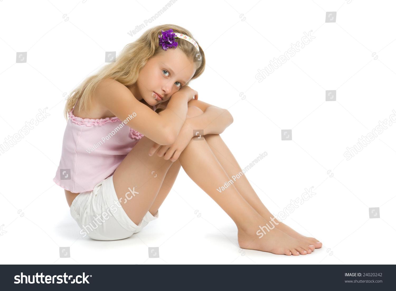 Pretty Sad Teenage Girl Sit On Floor Isolated On White ...