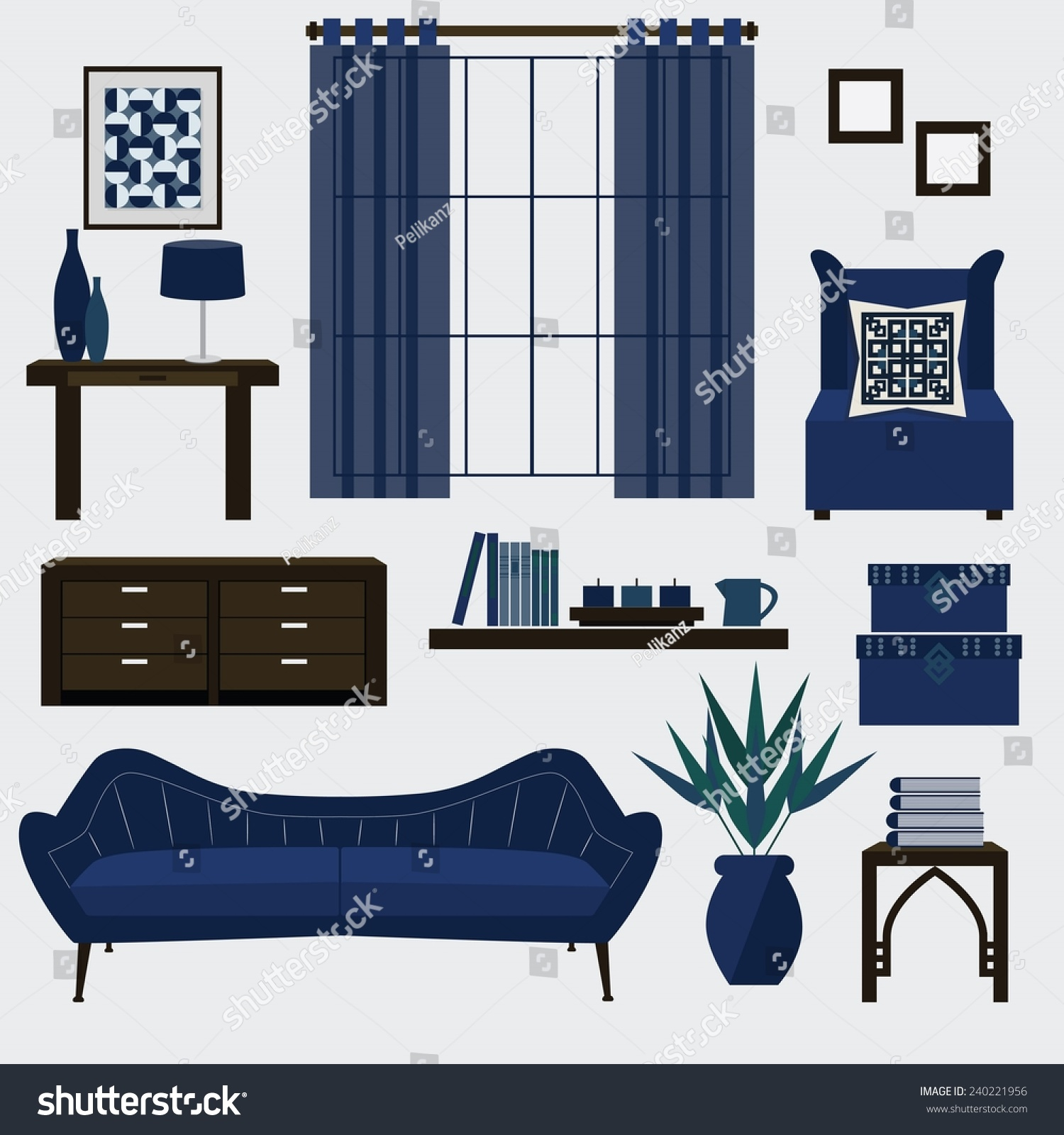 Living Room Furniture Accessories Color Navy Stock Vector
