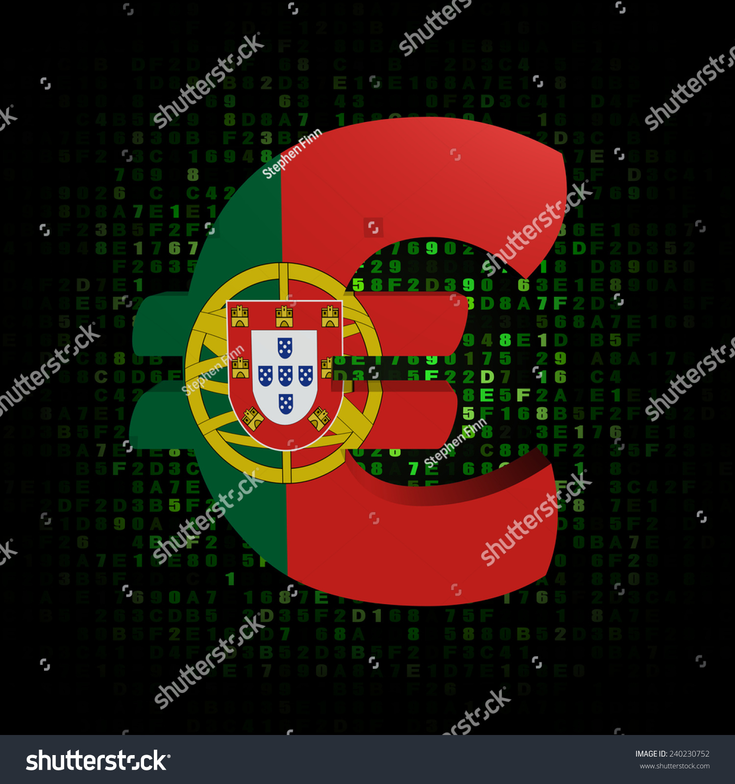 Euro Symbol Portugal Flag On Hex Stock Illustration 240230752