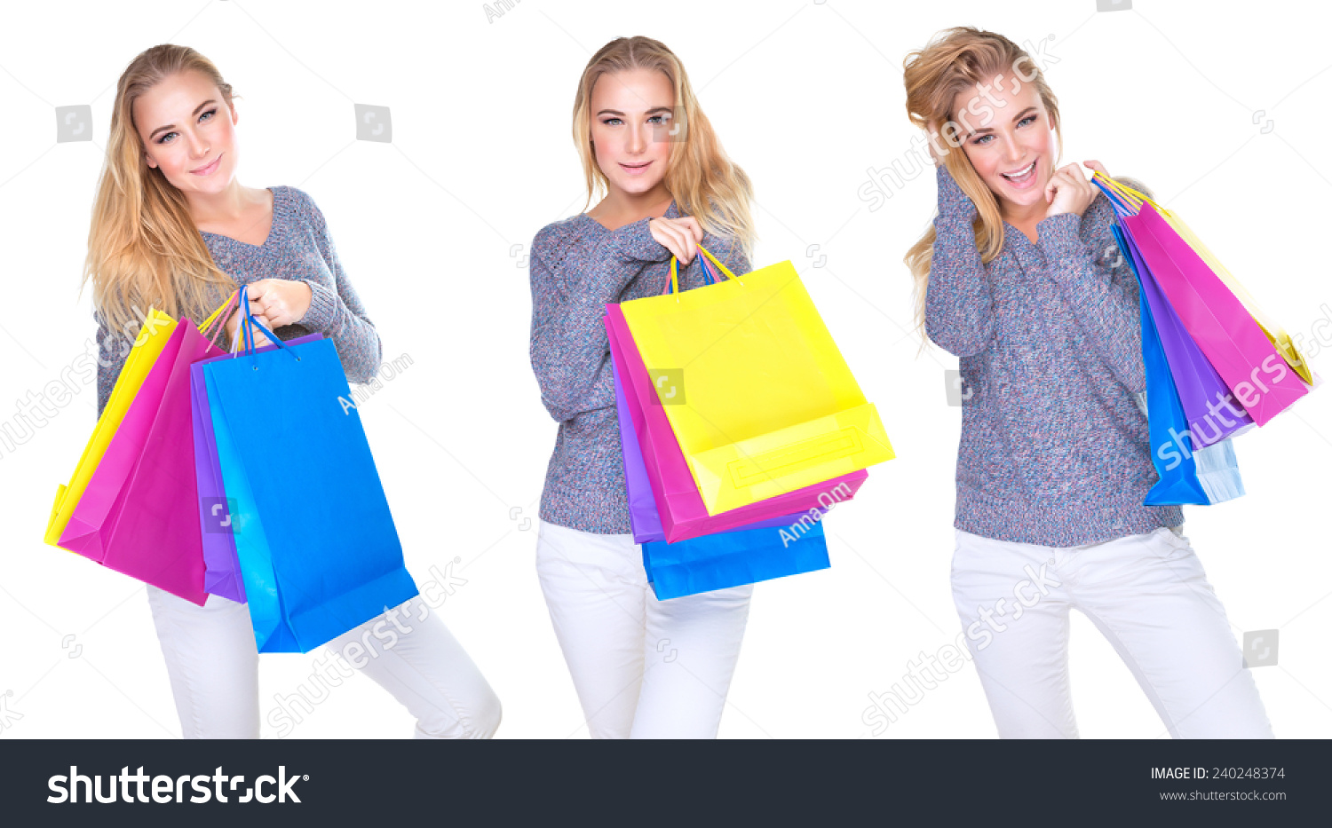 Woman posing with shopping bags isolated on white background full - Happy Shopper Girl Collage Cute Female In Different Poses With Colorful Shopping Bags Isolated On