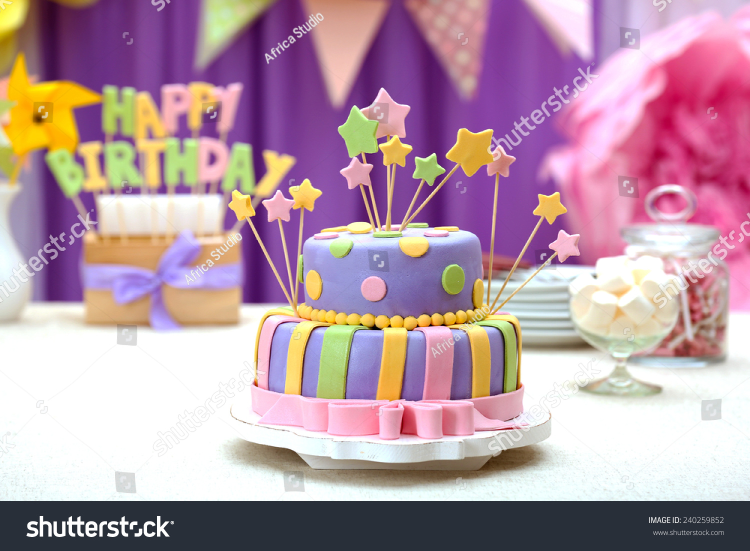 Delicious Birthday Cake On Table On Stock Photo Edit Now 240259852
