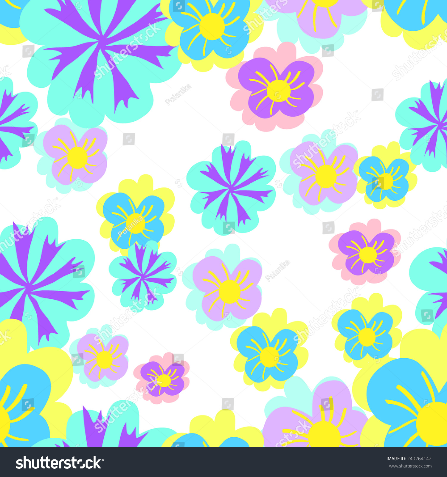 Seamless Pattern With Bright Spring Flowers Ez Canvas