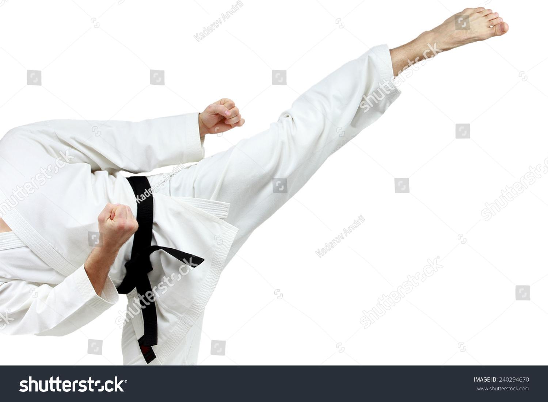 Mawashi geri kick is doing sportsman in a white karategi #240294670