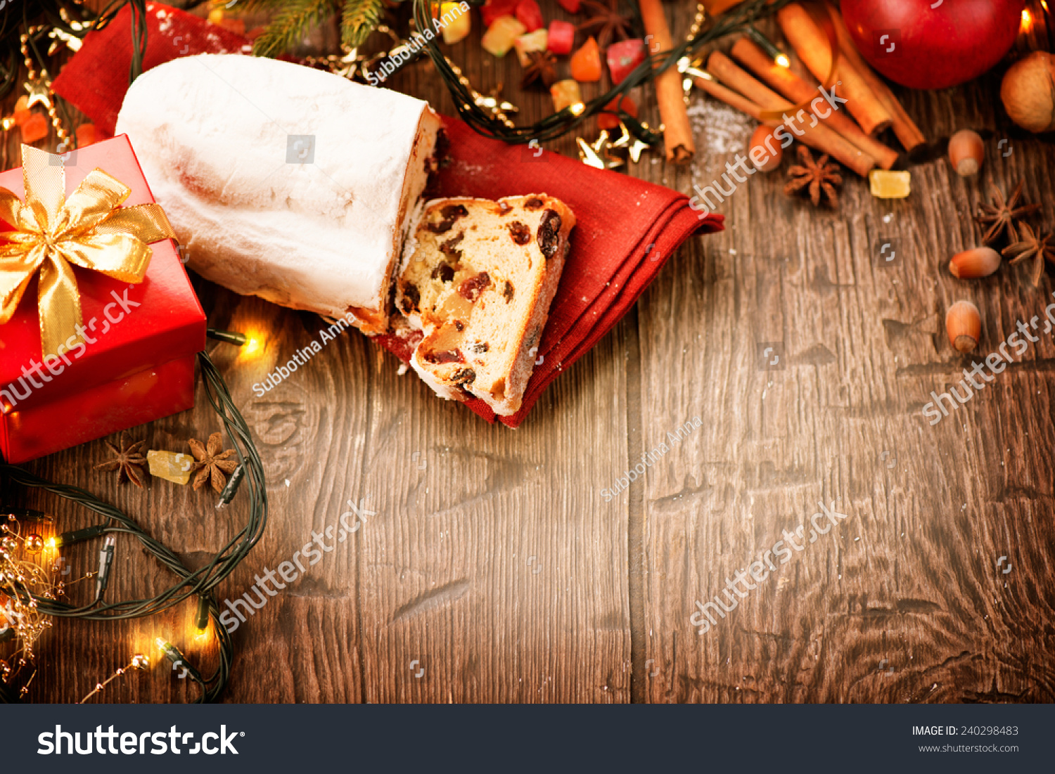new year table christmas food border design stollen traditional sweet fruit loaf