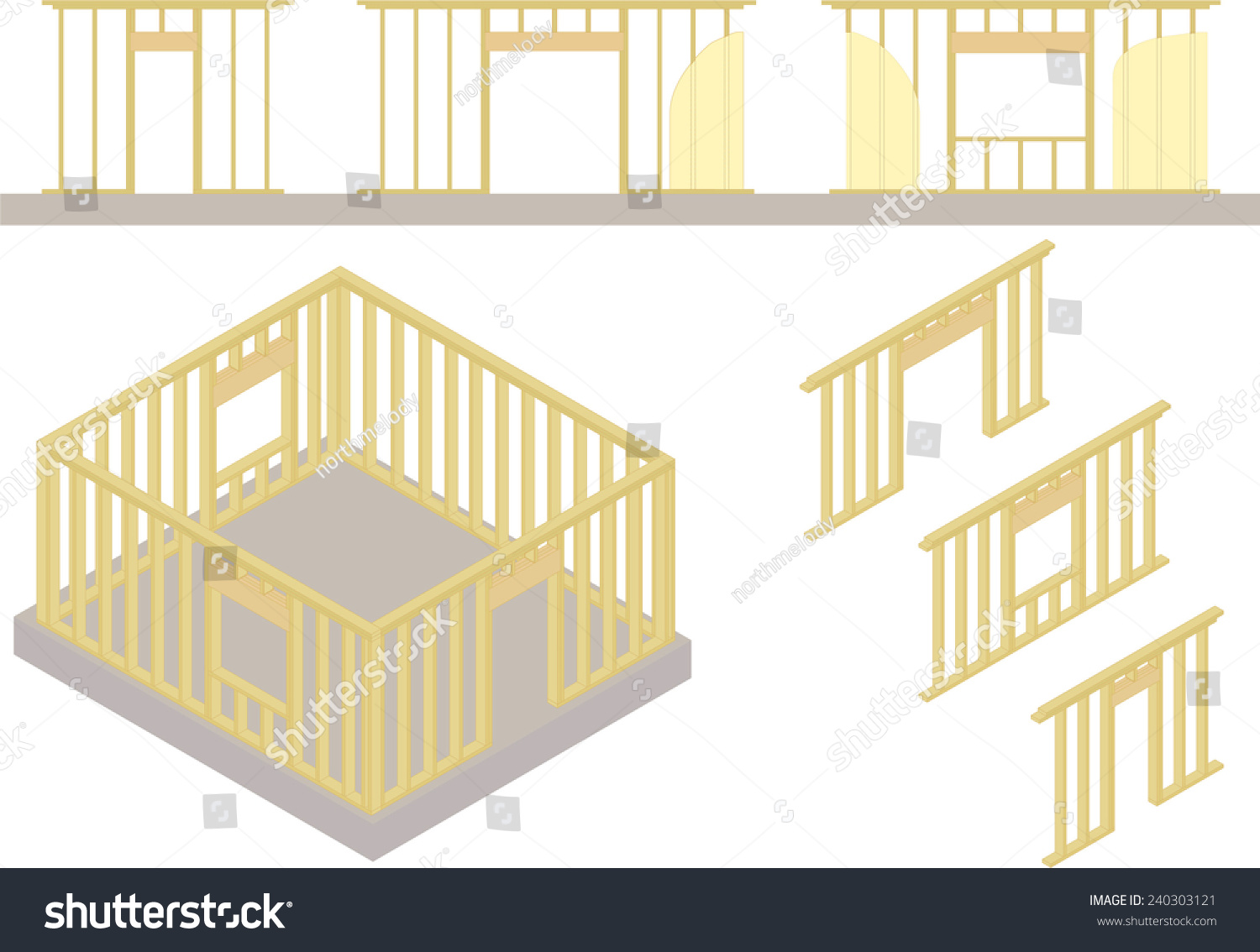 Vector Window Door Frames On Concrete Stock Vector