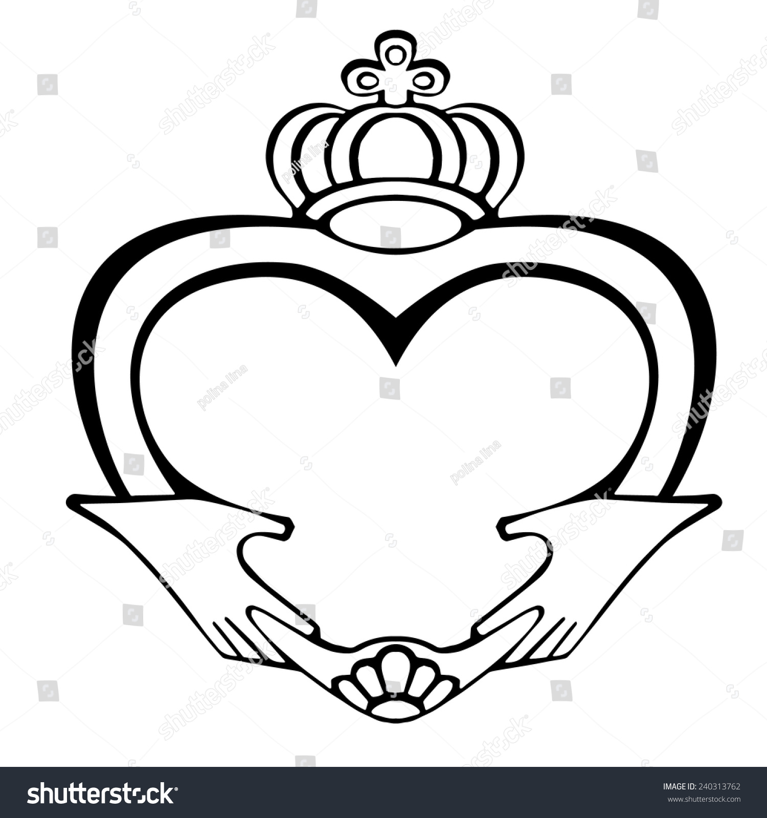 Claddagh Symbol On White Background Symbol Stock Vector Royalty
