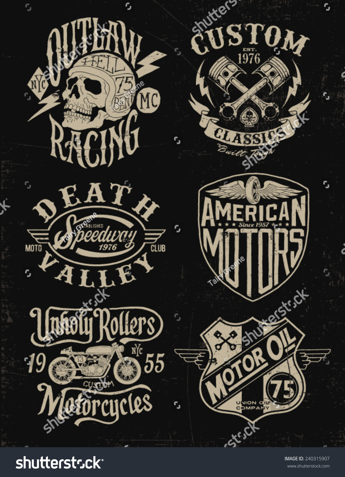 One Color Vintage Motorcycle Graphic Set 240315907