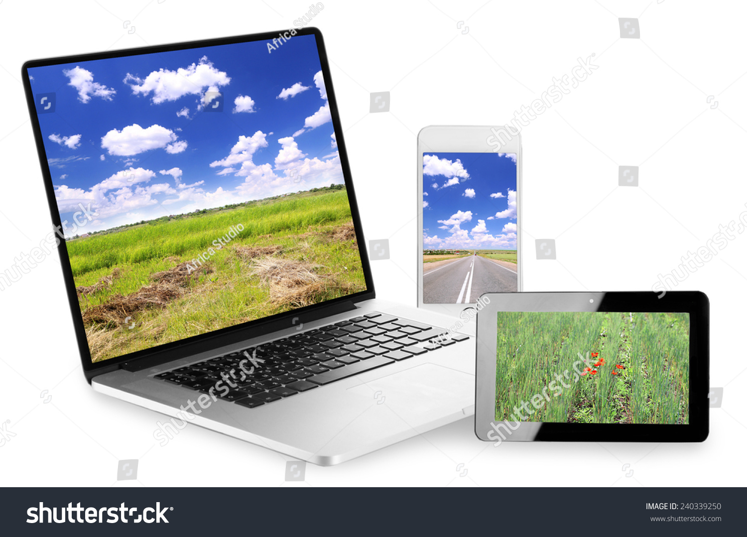 Laptop, tablet and phone with nature wallpaper on screens in collage isolated on white
