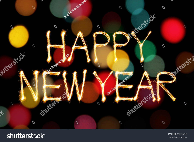 Happy New Year Sparkle Firework Writing Stock Photo (Edit Now ...