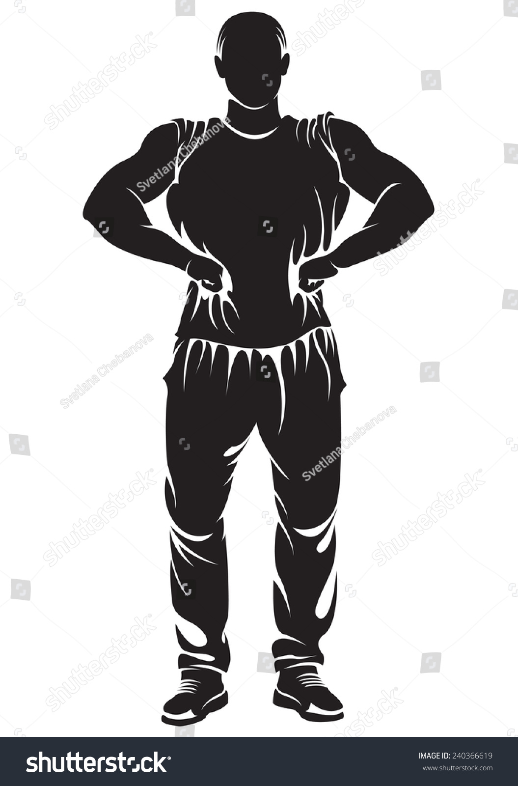 Vector image with bodybuilder silhouette