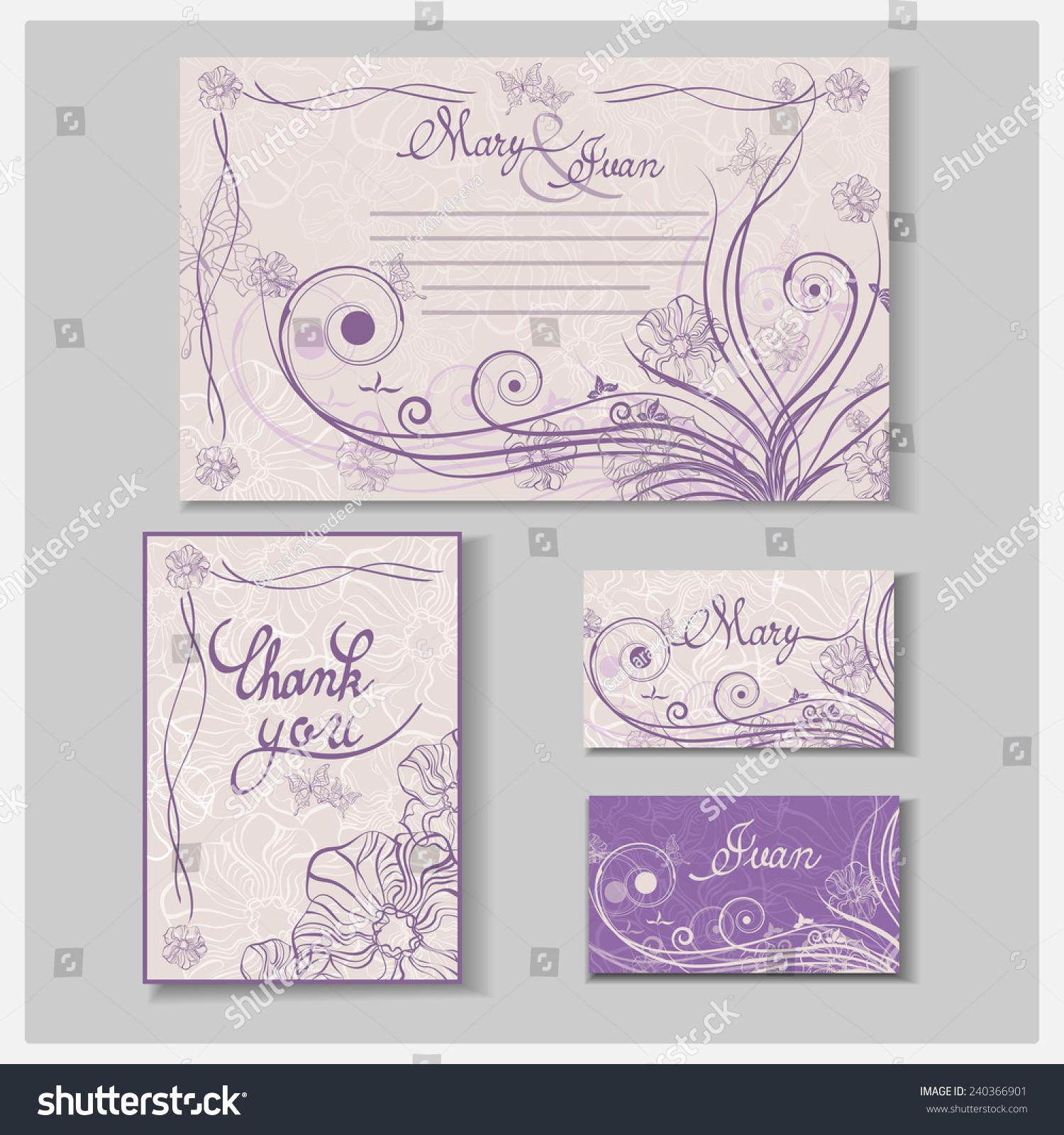 Wedding Invitation Card Set Thank You Stock Vector 240366901 ...