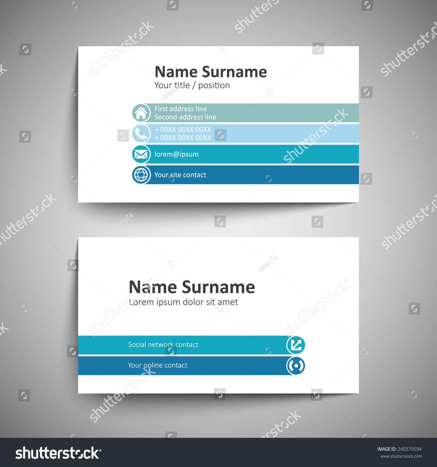 Modern Simple Business Card Template Vector Stock Vector - Simple business card templates
