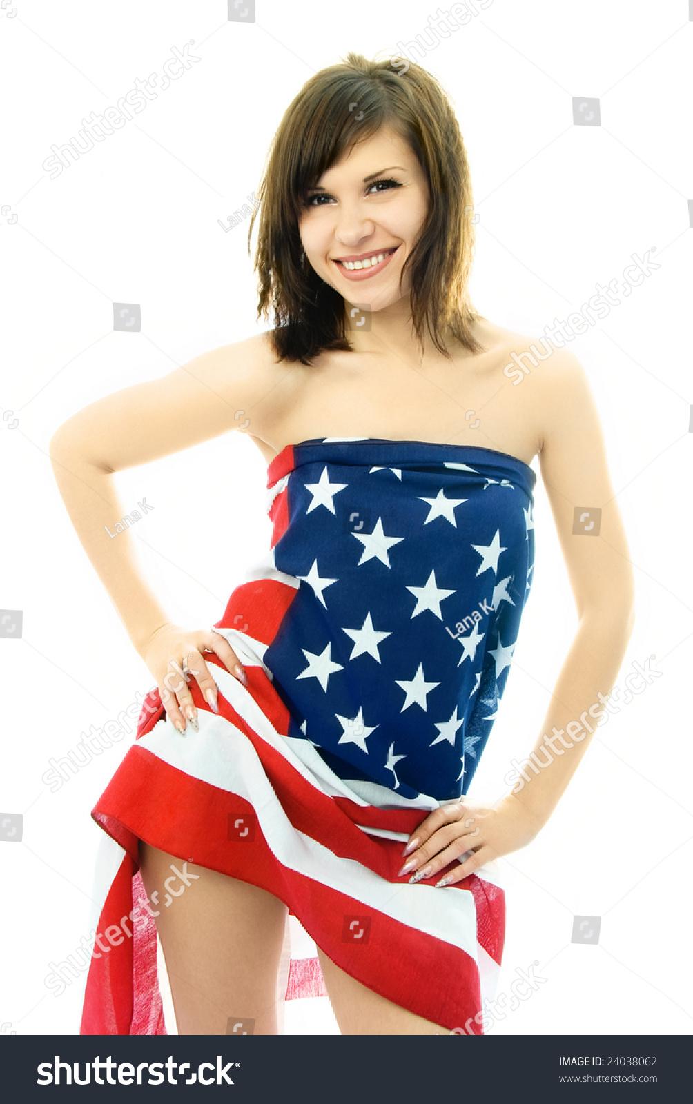 flag woman American naked