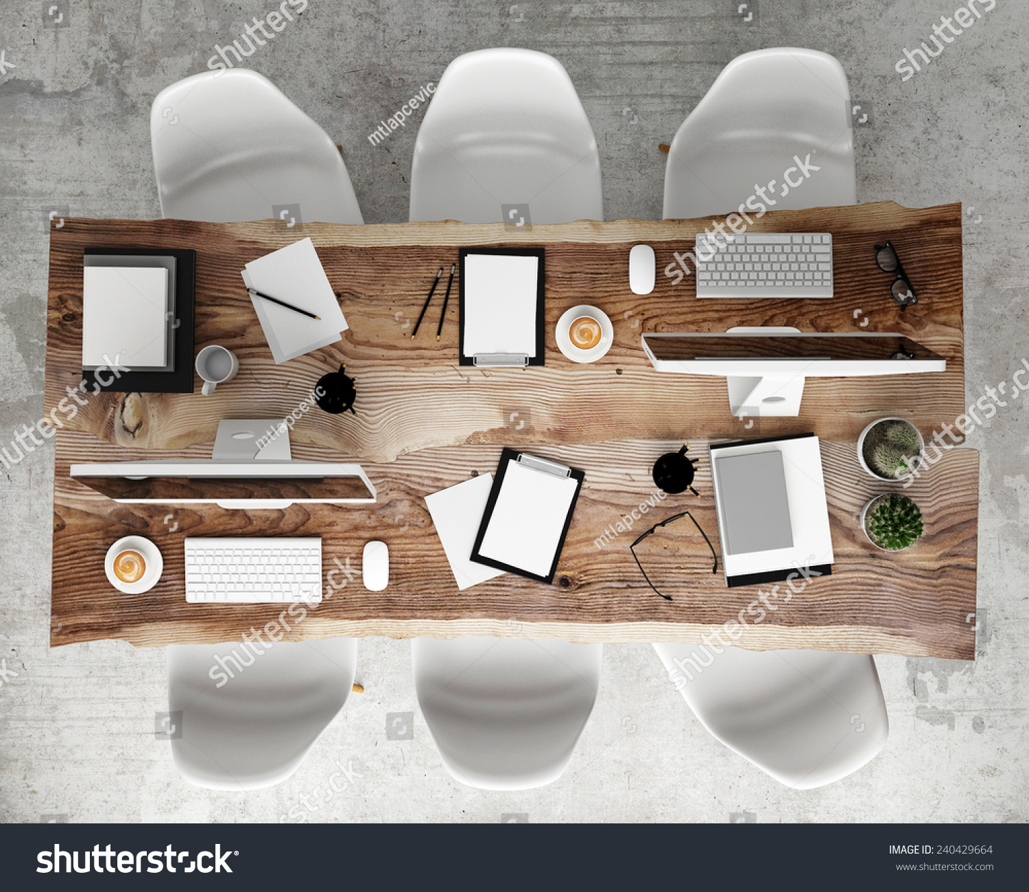 Mock meeting conference table office accessories stock for Meeting table design 3d