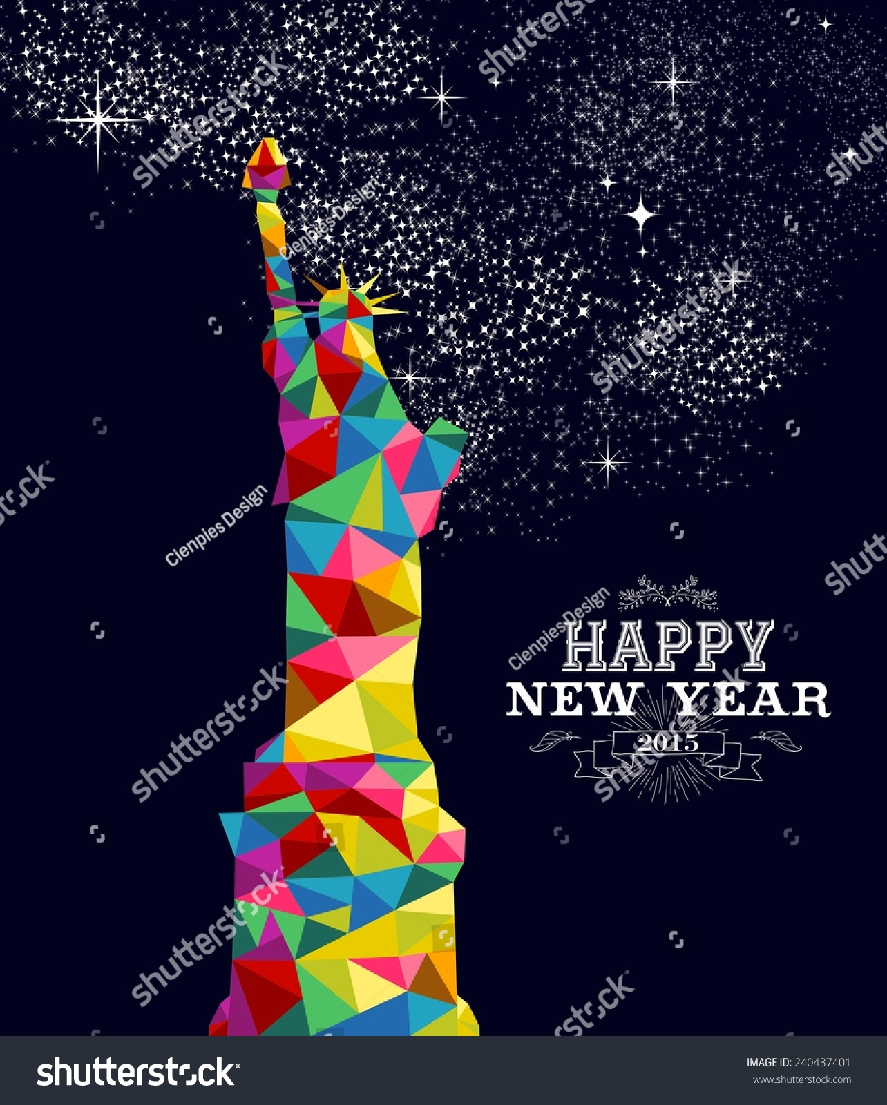 Happy New Year 2015 Greeting Card Stock Illustration 240437401