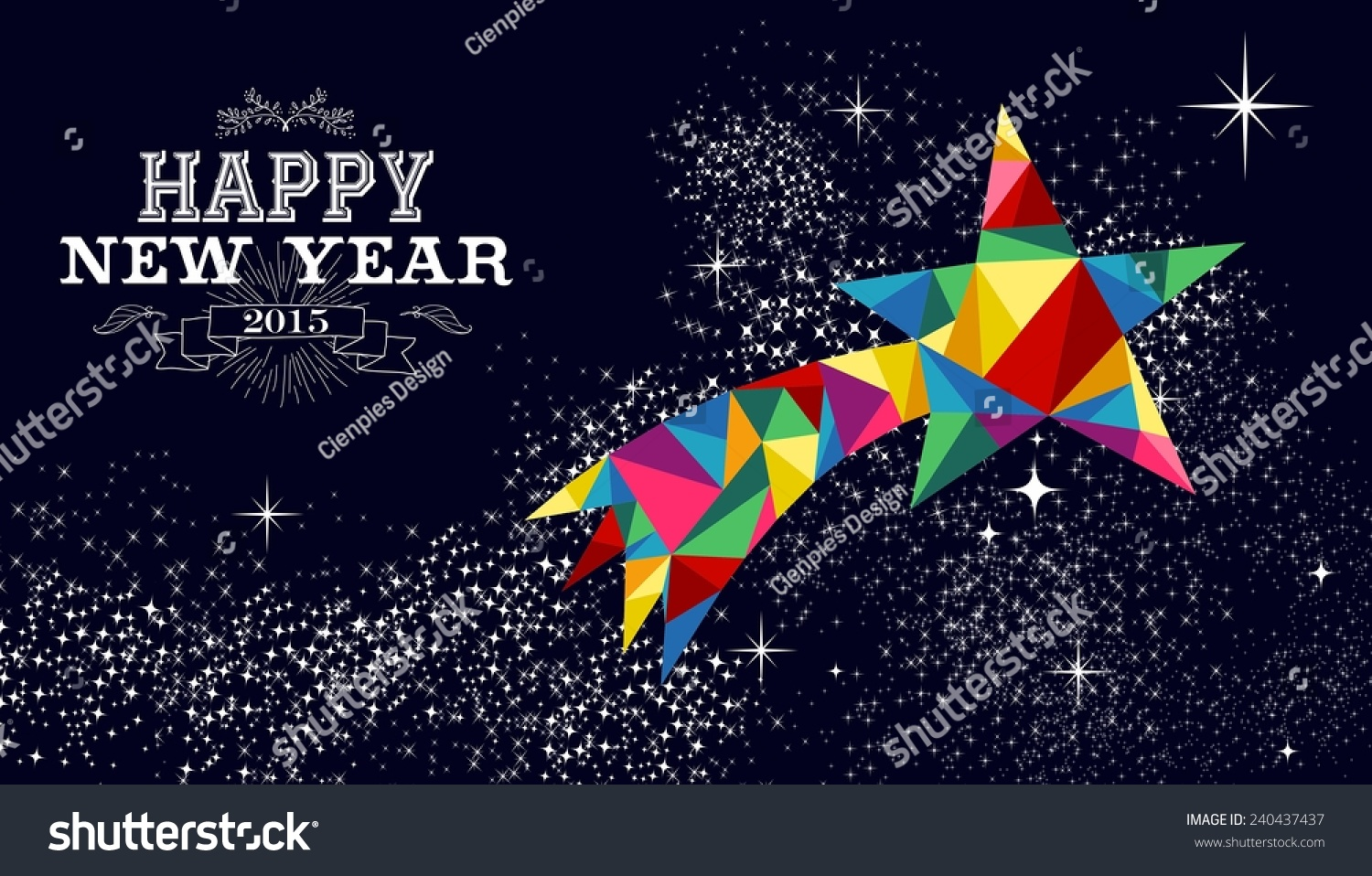 Happy New Year 2015 Greeting Card Stock Illustration 240437437